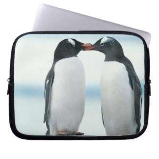 Dos pingüinos que tocan los picos fundas computadoras