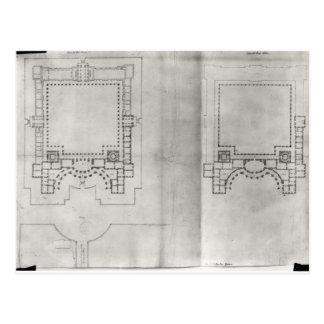 Dos planes para el primer proyecto para el Louvre Tarjeta Postal