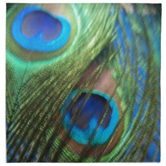Dos plumas azules del pavo real servilleta