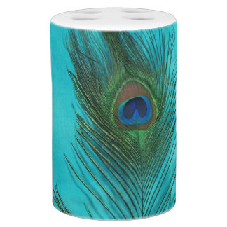 Dos plumas del pavo real de la aguamarina accesorios de baño