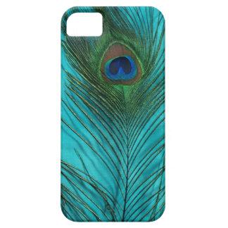 Dos plumas del pavo real de la aguamarina iPhone 5 protector