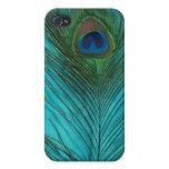 Dos plumas del pavo real de la aguamarina iPhone 4/4S carcasa