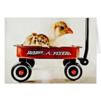 Dos polluelos del bebé en carro rojo tarjeta de felicitación