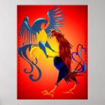 Dos posters coloridos de los gallos que luchan