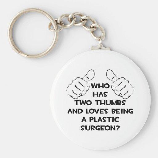 Dos pulgares. Cirujano plástico Llavero Redondo Tipo Pin