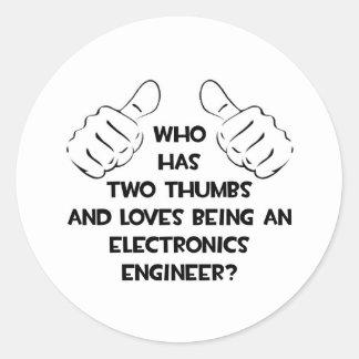 Dos pulgares Ingeniero electrónico Etiqueta