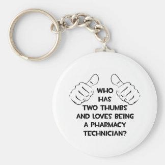 Dos pulgares. Técnico de la farmacia Llavero Redondo Tipo Pin