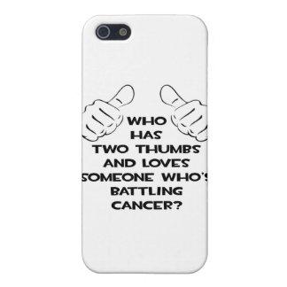 Dos pulgares y aman alguien cáncer de lucha iPhone 5 cárcasa