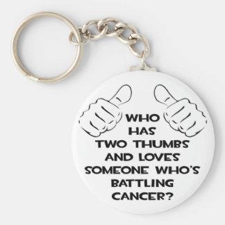 Dos pulgares y aman alguien cáncer de lucha llavero