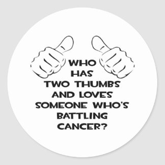 Dos pulgares y aman alguien cáncer de lucha pegatina redonda