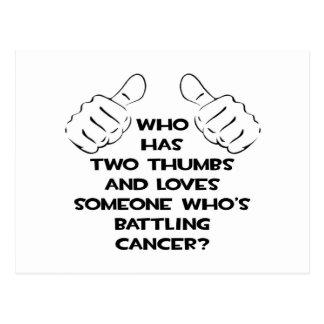 Dos pulgares y aman alguien cáncer de lucha postal
