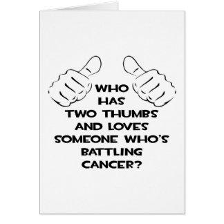 Dos pulgares y aman alguien cáncer de lucha tarjeton