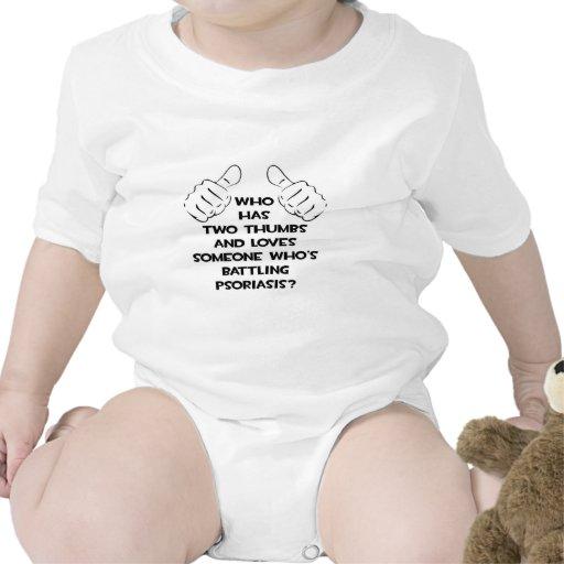 Dos pulgares y aman alguien psoriasis de lucha traje de bebé