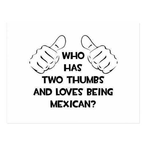 Dos pulgares y amores que son mexicanos postal