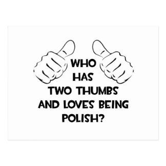 Dos pulgares y amores que son polacos tarjetas postales