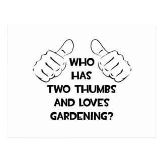 Dos pulgares y cultivar un huerto de los amores tarjeta postal