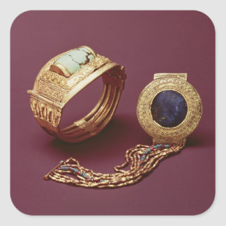 Dos pulseras, de la tumba de Tutankhamun Calcomanía Cuadradas Personalizada