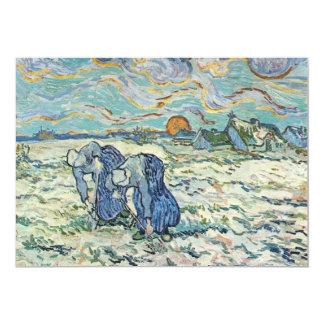 """Dos que cavan un sepulcro en la nieve de Van Gogh Invitación 5"""" X 7"""""""