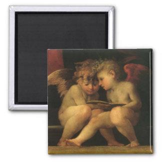 Dos querubes que leen por Rosso Fiorentino Imán Para Frigorífico