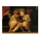 Dos querubes que leen por Rosso Fiorentino Tarjetas Postales