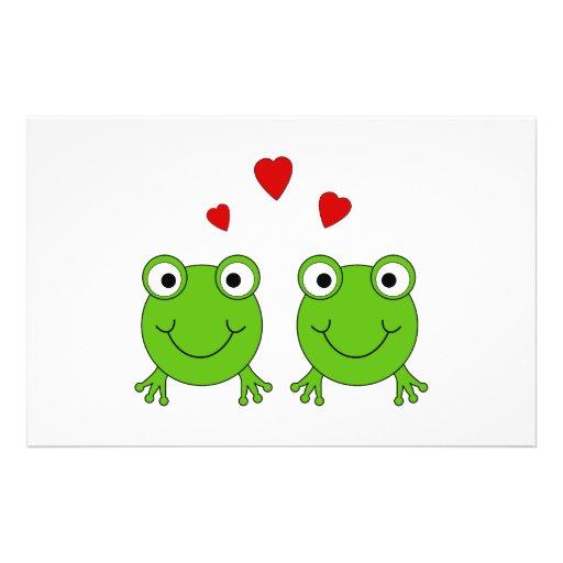"""Dos ranas verdes con los corazones rojos folleto 5.5"""" x 8.5"""""""
