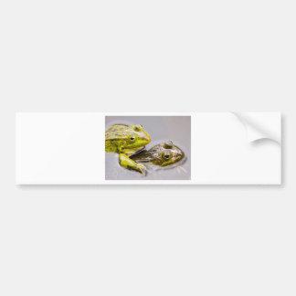 Dos ranas verdes de acoplamiento pegatina para auto