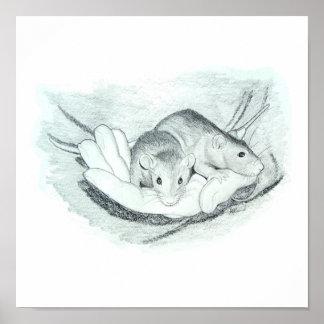Dos ratas en la mano poster
