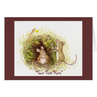 Dos ratones en la hierba - el ejemplo de los niños tarjeta de felicitación