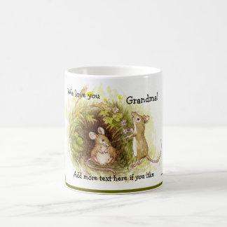 Dos ratones en la hierba - el ejemplo de los niños taza