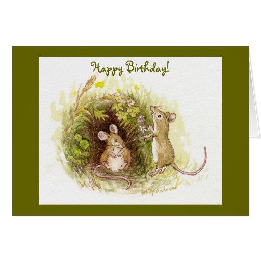 Dos ratones en la hierba - feliz cumpleaños tarjeta de felicitación