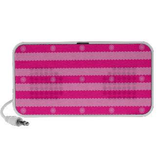 Dos rayas y flores brillantes rosadas del tono laptop altavoces