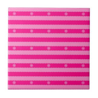 Dos rayas y flores brillantes rosadas del tono azulejos cerámicos
