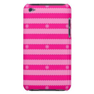 Dos rayas y flores brillantes rosadas del tono iPod Case-Mate funda