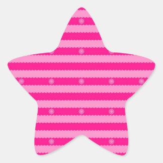 Dos rayas y flores brillantes rosadas del tono colcomanias forma de estrellas