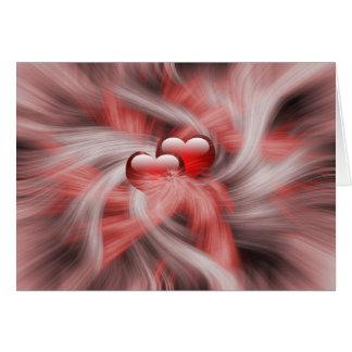dos remolinos románticos de los corazones rojos tarjeta de felicitación
