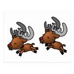 Dos renos/caribúes lindos del dibujo animado tarjetas postales