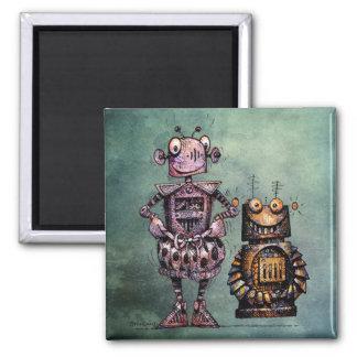 ¡Dos robots divertidos! Imán De Nevera