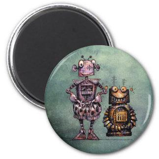 ¡Dos robots divertidos! Imanes De Nevera