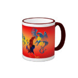 Dos Roosters_Mugs que lucha colorido Tazas