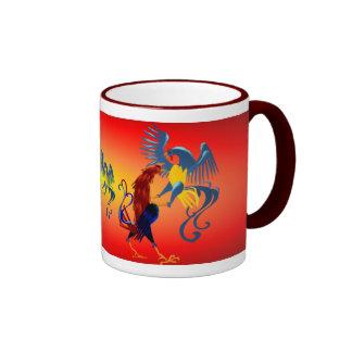 Dos Roosters_Mugs que lucha colorido Tazas