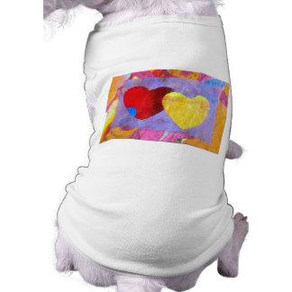 Dos ropa del mascota de los corazones dos playera sin mangas para perro