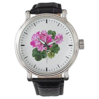 Dos rosados y geranios rayados blancos relojes