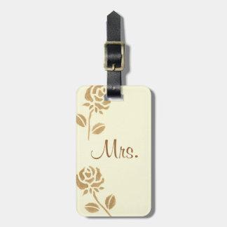 Dos rosas del oro personalizaron a señora Luggage  Etiquetas Maletas
