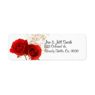Dos rosas rojos etiquetas de remite