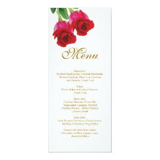 Dos rosas rojos que casan la invitación del menú