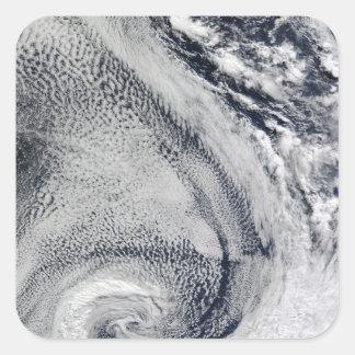 Dos S-Formaron huracanes polares Pegatina Cuadrada