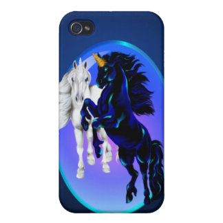 Dos sementales del unicornio ovales iPhone 4 carcasas