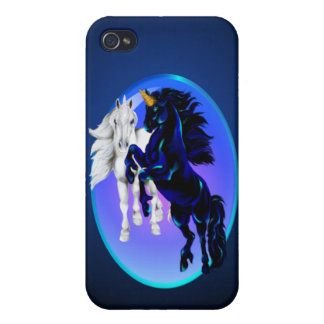 Dos sementales del unicornio ovales iPhone 4 funda