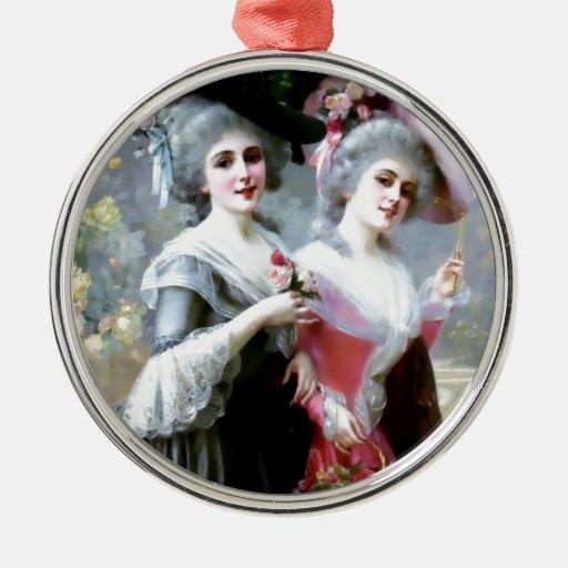 Dos señoras del Victorian con la pintura de los ro Ornamentos De Reyes