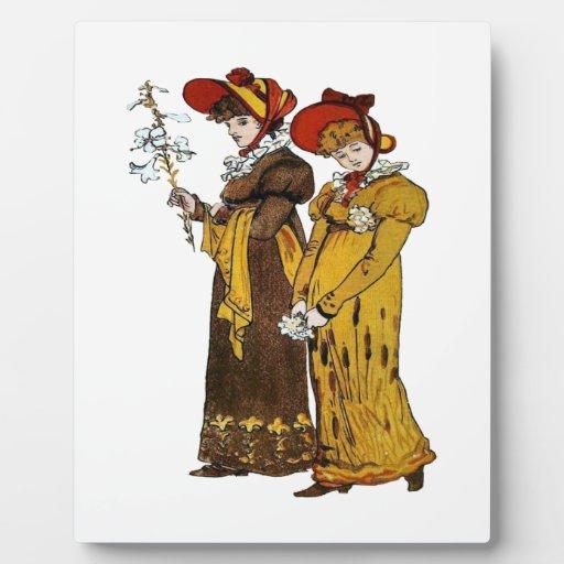 Dos señoras del Victorian Placa De Plastico